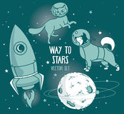 Set for cosmic design: planet, dog and cat in spacesuit and rocket. Vector illustration Royalty Free Stock Images