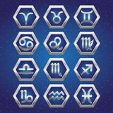 Set of cosmic icons with signs of Zodiac Royalty Free Stock Images