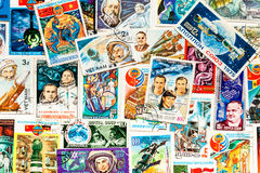 Set of Cosmic postage stamps. Background. Royalty Free Stock Image