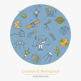 Set of cosmos and aerospace icons. Made in modern line style vector Royalty Free Stock Photo