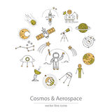 Set of cosmos and aerospace icons. Made in modern line style vector Stock Photos