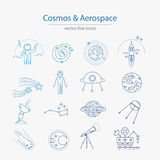 Set of cosmos and aerospace icons. Made in modern line style vector Royalty Free Stock Photography