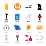 Set of cost uction, advisor, penetration, shepherd, telecom, concierge, page turn, folded hands icons. Set Of 16 simple  icons such as cost uction, advisor Royalty Free Stock Image