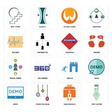Set of cost uction, bank branch, demo, join us, travel agent, grammar, tracker, folded hands, next steps icons. Set Of 16 simple editable icons such as cost Royalty Free Stock Photo