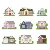 Set of cottage house icons in flat style. Stock Image
