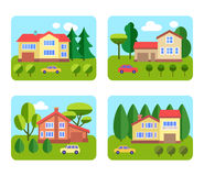 Set of cottages. With gardens and cars. Flat style vector illustration Royalty Free Stock Photos