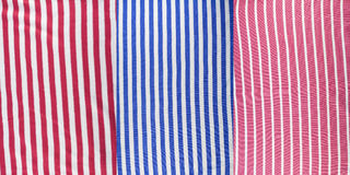 Set of a cotton fabric with red and  blue strips Royalty Free Stock Images