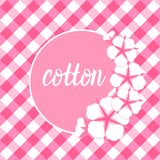 Cotton flower frame. Flat style on cute pink vichy background. Vector illustration. Set Cotton flower card with round frame. Flat style on cute pink vichy royalty free illustration