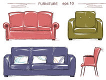 Set of couch and armchairs.Vector color sketchy furnitures Royalty Free Stock Photos