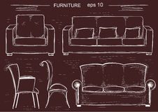 Set of couch and armchairs.Vector sketchy furnitures Royalty Free Stock Images