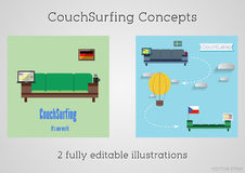 Set of Couch surfing concept. Travel infographic. Share your sofa. 2015. Travel all over the world for free. Can be used as poster. Banner, card, template etc Royalty Free Stock Photos