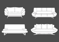 Set of couches and sofas. Vector illustration Royalty Free Stock Image