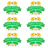 Set the countdown days to the beginning. Vector sign with yellow alarm clock. Vector illustration stock illustration