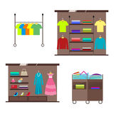 Set of counters and displays for interior decoration of clothes and accessories store. Vector, illustration in flat Stock Photos