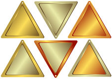 Set of counters of the triangular form. Of gold, silver and bronze color stock illustration