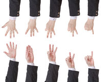 Set of counting businessman hand Royalty Free Stock Photography