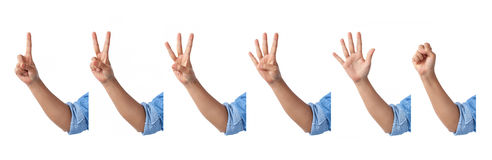 Set of counting front hands sign with an elbow in a jean shirt., Stock Images