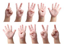Set of counting hand sign of kid Stock Images