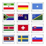 Set of Countries Flags on Metal Texture Plates Stock Image