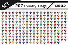 Set 207 countries flags shield Stock Photo