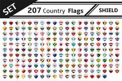 Set 207 countries flags shield. Shape Stock Photo