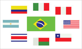 Set of country flags, Brasil, Argentina, Italy, Peru Stock Photography