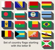 Set of country flags staring with the letter B Stock Images