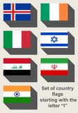 Set of country flags starting with I Royalty Free Stock Photo