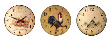 Set of country style clocks Stock Images