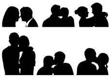 Set of couple in different positions Royalty Free Stock Photo