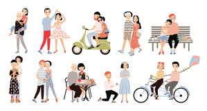 Set of couple in love. Different romantic situations walking, speaking, cycling, hugging, marriage proposal, dance, ride. A moped. Colorful vector illustration stock illustration