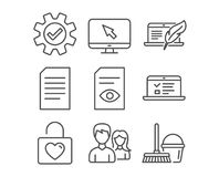 Couple, View document and Service icons. Web lectures, Document and Copyright laptop signs. Set of Couple, View document and Service icons. Web lectures Stock Photos