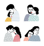 Set of couples in love. Portraits of loving guy and girl. Gentle hugs and kisses collection. Colorful vector Royalty Free Stock Images