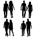 Set couples man and woman silhouettes on a white background.  Stock Photos