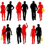 Set Couples man and woman silhouettes on a white background. Vector illustration.  Stock Photo