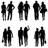 Set Couples man and woman silhouettes on a white background. Vector illustration.  Royalty Free Stock Photography