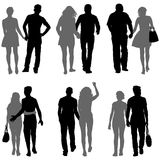Set Couples man and woman silhouettes on a white background. Vector illustration.  Royalty Free Stock Photos