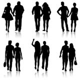 Set Couples man and woman silhouettes on a white background. Vector illustration.  Royalty Free Stock Photo