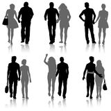 Set Couples man and woman silhouettes on a white background. Vector illustration.  Royalty Free Stock Image