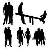 Set of couples silhouettes. Royalty Free Stock Image