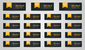 Set coupon banner Royalty Free Stock Images