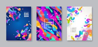 Set of cover with abstract multicolored shapes. Illustration template, Stock Images