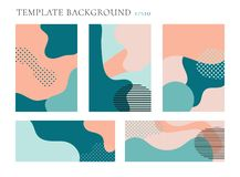 Set of cover brochure and banner web template background. Seamless patterns pastels color. Geometric fluid shapes trendy layout vector illustration