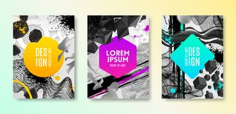 Set of cover design with abstract different shapes. Vector illustration template. Universal abstract design for covers, flyers, banners, greeting card, booklet Stock Images
