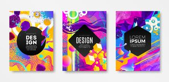 Set of cover design with abstract multicolored different shapes. Vector illustration template. Universal abstract design for covers, flyers, banners, greeting Royalty Free Stock Images
