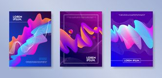 Set of cover design with abstract multicolored flow shapes. Vector illustration template. Universal abstract design for covers. Flyers, banners, greeting card Stock Photos