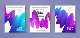 Set of cover design with abstract multicolored flow shapes. Vector illustration template. Universal abstract design for covers. Flyers, banners, greeting card Royalty Free Stock Photos