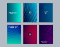 Set of cover design with background of geometric lines. Stock Images