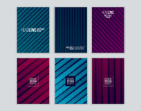 Set of cover design with background of geometric lines. Stock Photos