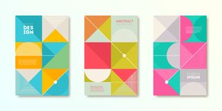 Set of cover design with simple abstract geometric shapes. Vector illustration template. Universal abstract design for covers, flyers, banners, greeting card Stock Image